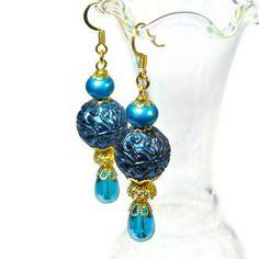 Bead Dangle Earrings in Turquoise Teal