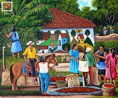 El Salvador ~ Edmundo Otoniel Mejia ~ In Front of the Painted House Haitian Art, Caribbean Art, Writing Art, Indigenous Art, Paintings I Love, Naive Art, Illustrations And Posters, Beach Art, Figure Painting