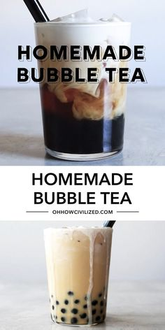 Decadent, delicious and refreshing this homemade bubble or boba tea is quick and easy to prepare! With just a few simple ingredients, you can make this delicious drink right in your own kitchen! Bubble Tea Shop, Bubble Milk Tea, Bubble Tea Menu, Milk Tea Recipes, Coffee Recipes, Starbucks Recipes, Boba Tea Recipe, Amazing Food Videos, Boba Drink