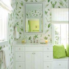 Beach house bath love crisp green and white