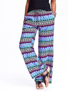 Women's Patterned Wide-Leg Soft Pants Product Image