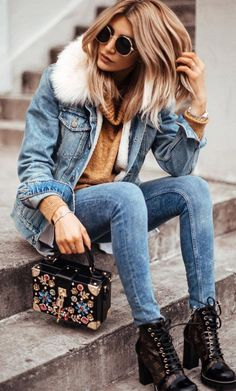 double denim outfit / jacket   skinny jeans   sweater   bag   boots