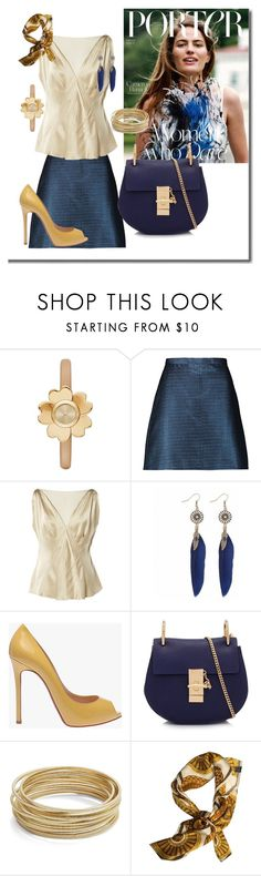 """Blue &a gold"" by robbys73 ❤ liked on Polyvore featuring Michael Kors, Carven, Alberta Ferretti, Christian Louboutin, Chloé, Design Lab and Versace"