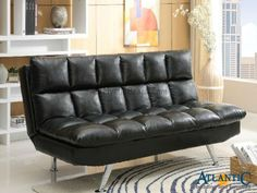 This stylish contemporary sofa bed will help you make the most of your space, with convenient multi-function and a sophisticated look. The rich black faux leather has a modern tufted look, while the armless design adds to the chic style. Easily convert this comfortable sofa to a double bed at night by dropping the back cushion, for a cozy guest bedroom in an instant
