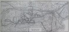1914 Antique GRAND TRUNK RAILROAD Map  - Vintage Railway Map