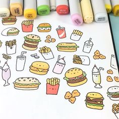 Kawaii Burger Doodle  Nom Nom Nom • • #burger #speeddrawing #coloring #copicmarkers #かわいい #可愛い