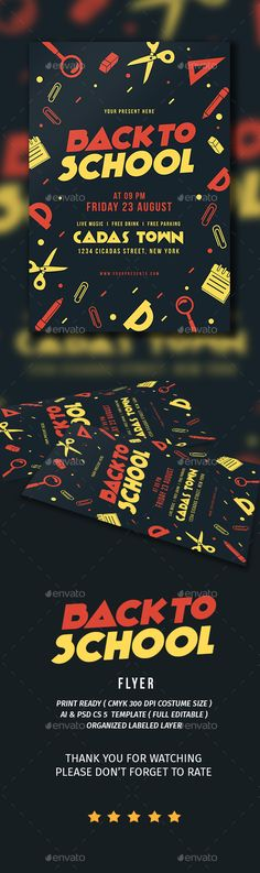 Back to School Flyer Template PSD, AI Illustrator. Download here: https://graphicriver.net/item/back-to-school/17201383?ref=ksioks