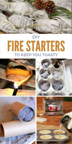 15 DIY Fire Starters to Keep You Toasty. Great tips for emergency preparedness or just to save yourself some money. They're even handy for camping!