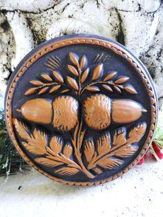 Primitive Springerle Double Acorn Cinnamon & Dark Brown Stone Casting Ornament Wall Art Christmas Folk Art European