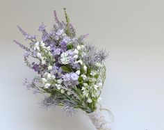 Rustic Wedding Bouquet Blue and Lavender by blueorchidcreations