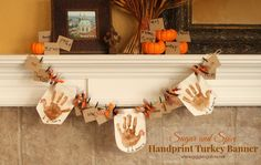 Sugar and Spice Handprint Turkey Banner www.gigglesgalore.net