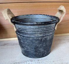 "Rustic Metal Container  - Round Galvanized Metal Bucket - Farmhouse Metal Bucket 5"" tall  x 6.5"" diameter by FarmhouseHomeDecor on Etsy"