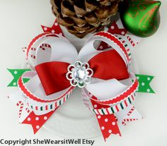 Large Christmas Hair Bow Baby's First Christmas by SheWearsitWell, $14.50