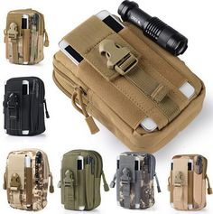 Universal Outdoor Tactical Holster Military Molle Hip Waist Belt Bag Wallet Pouch Purse Phone Case with Zipper for iPhone/LG/HTG