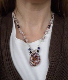 Handmade Purple, White and Brown Necklace Wirewrapped with Silver and Copper Wire. via Etsy.