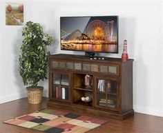 Santa Fe Dark Chocolate Wood Glass 3 Adjustable Shelves TV Console