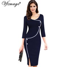 Cheap dress like, Buy Quality dress rope directly from China pencil dresses on sale Suppliers: Vfemage Womens Vintage Brief Split Bottom Elegant Casual Work Sleeve Deep O-Neck Bodycon Knee Women Office Pencil Dress 4239 Cheap Dresses, Elegant Dresses, Dresses For Sale, Dresses For Work, Sheath Dress, Bodycon Dress, Work Casual, Casual Office, Casual Wear