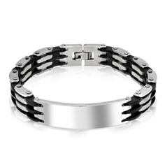 Bling Jewelry Mens Stainless Steel Black Rubber Bicycle Chain ID Bracelet 8.5in Bling Jewelry. $19.99. Stainless Steel, Rubber. Bicycle chain links. .5in wide, 8.5in long. Mens ID bracelet. Weighs 46 grams. Save 52%!