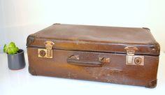 VALISE en  carton vintage vanity marron suitcase