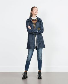 NAVY RAINCOAT-Coats-TRF | ZARA United States