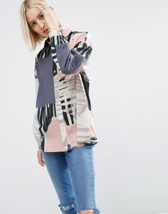 Asos Oversized Abstract Print Shirt