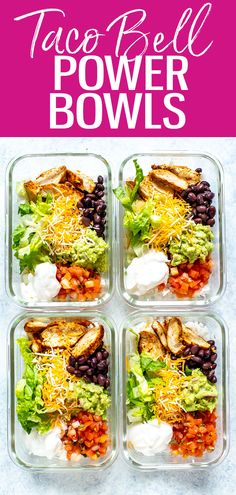Mar 2020 - This Taco Bell Power Bowl is the perfect meal prep idea and is a healthier Taco Bell copycat you can easily make at home in about 30 minutes! Easy Healthy Meal Prep, Healthy Tacos, Easy Healthy Recipes, Easy Meals, Simple Meal Prep, Meal Prep For Work, Health Meal Prep, Fitness Meal Prep, Work Meals