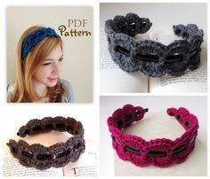 PDF pattern for sale. pinned for inspiration. got so many plastic headbands. will try to figure this our myself. Crochet Headband Pattern, Crochet Cap, Crochet Trim, Crochet Scarves, Crochet Clothes, Crochet Headbands, Baby Headbands, Crochet Hair Accessories, Crochet Hair Styles