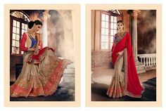 LadyIndia.com #Heavy Worked Saree Sarees, Urban Naari Red And Beige Colored Georgette Sarees, Heavy Worked Saree Sarees, https://ladyindia.com/collections/ethnic-wear/products/urban-naari-red-and-beige-colored-georgette-saree