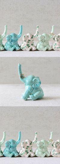 Super Cute Handmade Elephant Ring Holder. #ringholder #ring #holder #jewelry #elephant #ceramic #ad #pottery