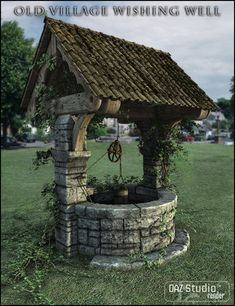 If you're going to have a wishing well, do it right. I'm sorry, but those little pine ones people buy and plop them in their front yard of their in-town house just doesn't really do it. Scottish Country Cottages, Wishing Well Garden, Gazebos, Water Well, Outdoor Projects, Water Features, Backyard Landscaping, Garden Inspiration, Garden Art