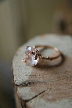 Jewels: heart, pink, setting, quartz, engagement ring, hipster wedding, valentines day gift idea, ring, diamonds, crystal, stones, jewelery, pink stone gold ring - Wheretoget