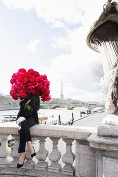 Bold Beauty - Peonies Paris Great Future Ahead - A huge bouquet of red peonies photographed on Pont Alexandre III in Paris for my limited edition series Young Girl In Bloom! Peonies Paris, Red Peonies, Peonies Bouquet, Bouquets, No Rain, Foto Art, Arte Floral, Dahlia, Floral Arrangements