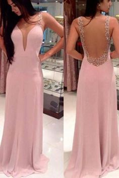 Long Pink V-Neck Backless Prom Dresses,Pretty Prom Dresses,Party