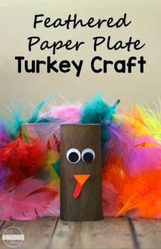 Feathered Paper Plate Turkey Craft- Feathered Paper Plates Turkey Craft - this is such a sweet, easy-to-build Thanksgiving craft that you can make with things from the dollar shop. Perfect for toddler, preschool, prek, kindergarten child #