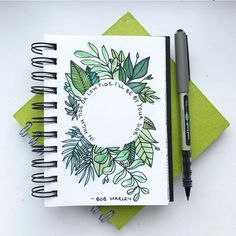 Leaf doodles and bob marley quote journal inspiration cuaderno de tareas, p Bullet Journal Ideas Pages, Bullet Journal Inspiration, Journal Pages, Bullet Journal Leaves, Journal Covers, Bellet Journal, Sketch Note, Journal Layout, Love Journal