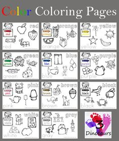 3 Dinosaurs has FREE Color Coloring pages. In this printable you will find:  	11 pages 	Colors: red, orange, yellow, green, blue, pur
