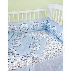 Modern Basics Boo Blue Hippo Crib Bedding Set  CSHP  BU