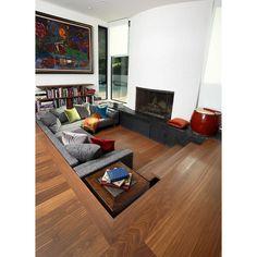 20 Cool & Sunken Living Room Remodel, Design & Ideas - Home Decor Ideas Sunken Living Room, Living Room With Fireplace, Living Room Modern, Home And Living, Living Room Designs, Living Room Decor, Living Spaces, Living Rooms, Open Floor Concept