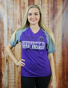 We all love baseball, as well as looking good! Show your love for both as well as UCA baseball in this new raglan t-shirt! Go University of Central Arkansas Bears!