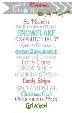 15 super cute FREE Christmas fonts | lollyjane.com