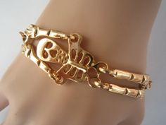 Gold Skeleton Bracelet Gold Chunky Curb Chain by PrettyDIY on Etsy, $1.99