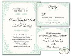 Mint Green Wedding Invitation  Invitation Wedding by Hottomatoink2