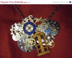 """STEAMPUNK SALE Steampunk TARDIS Necklace: Upcycled """"Dr Who"""" Style Necklace made with Vintage Watch Parts"""
