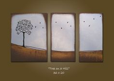 tree and birds on canvas