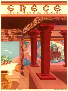 A SLICE IN TIME Greece Isle of Crete Place of Cnossos Greek Vintage Travel Advertisement Art Collectible Wall Decor Poster Print. Measures 10 x inches Vintage Travel Posters, Vintage Ads, Knossos Palace, Old Posters, Retro, Tourism Poster, Mont Saint Michel, Greek Art, Greece Travel