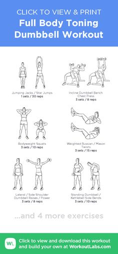 Full Body Toning Dumbbell Workout – click to view and print this illustrated exercise plan created with #WorkoutLabsFit