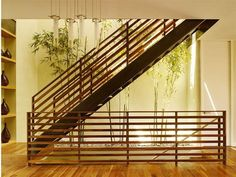 interior, Indoor Garden Design Ideas With Wooden Staircase Design Ideas With Wooden Flooring Design Stone Bamboo Tree Wooden Fence White Wall Design For Interior Design: Create Natural Atmosphere with Exciting Indoor Garden Interior Design Wooden Staircase Design, Wood Railings For Stairs, Modern Stair Railing, Stair Railing Design, Wooden Staircases, Modern Stairs, Iron Staircase, Interior Staircase, Railing Ideas
