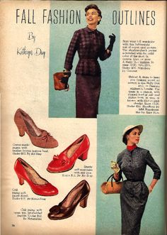 1950s fall dresses and shoe fashion plates.