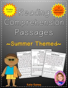 """Summer Themed Reading Passages - These reading passages are excellent resources to teach your primary students all about comprehension and context clues. Although just a passage, each one is chalked full of details and includes a picture. Each passage comes with 3-4 comprehension questions, asking students to think """"about, within, and beyond"""" the text. #teachersherpa"""