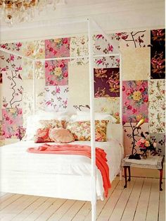 I love the patchwork wall paper